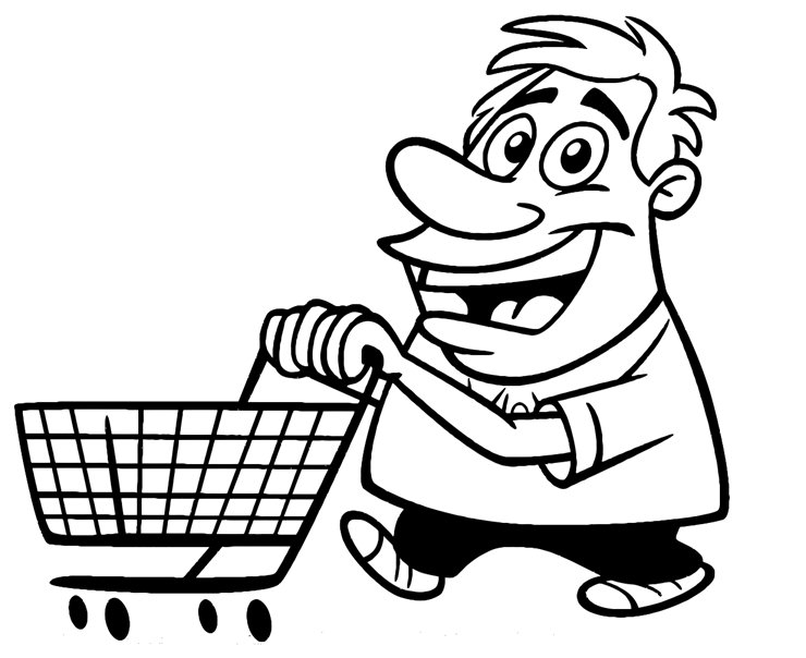 740x604 Cartoon Guy With Shopping Cart Printable Image Illustration Sketch