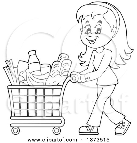 450x470 Clipart Of Cartoon Blacknd White Happy Woman Pushing