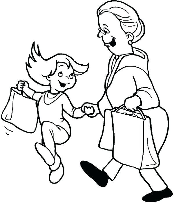 600x701 Grandma Coloring Pages Shopping Coloring Pages Family Shopping