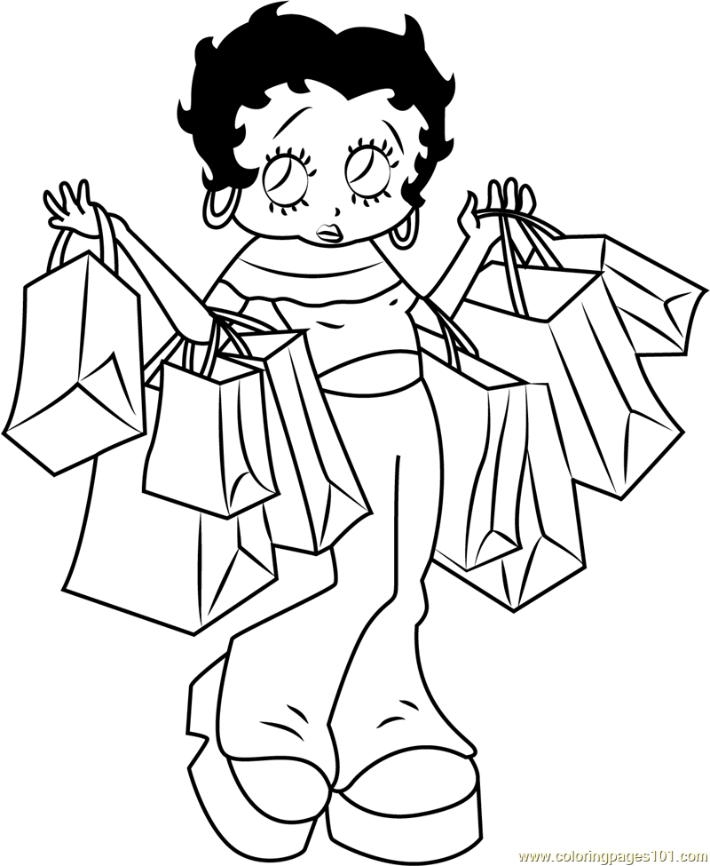 800x975 Betty Boop Going For Shopping Coloring Page