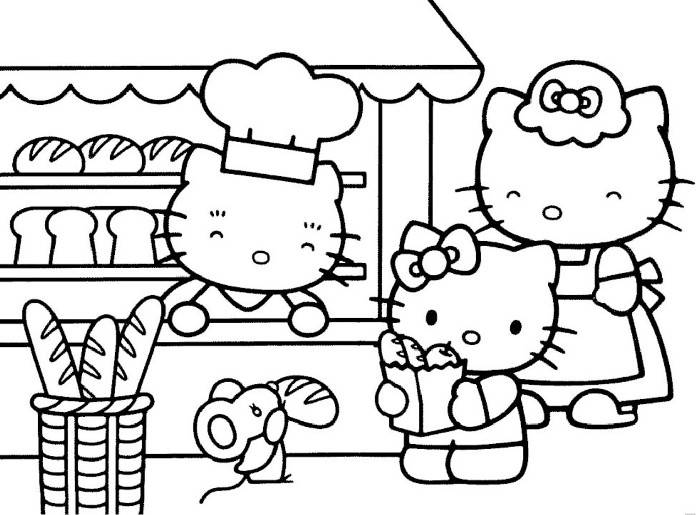 696x515 Print Hello Kitty Shopping Bread Coloring Pages Or Download Hello