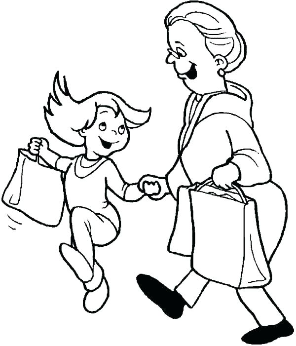 600x701 Shopping Coloring Pages Shopping Centre Colouring Pages