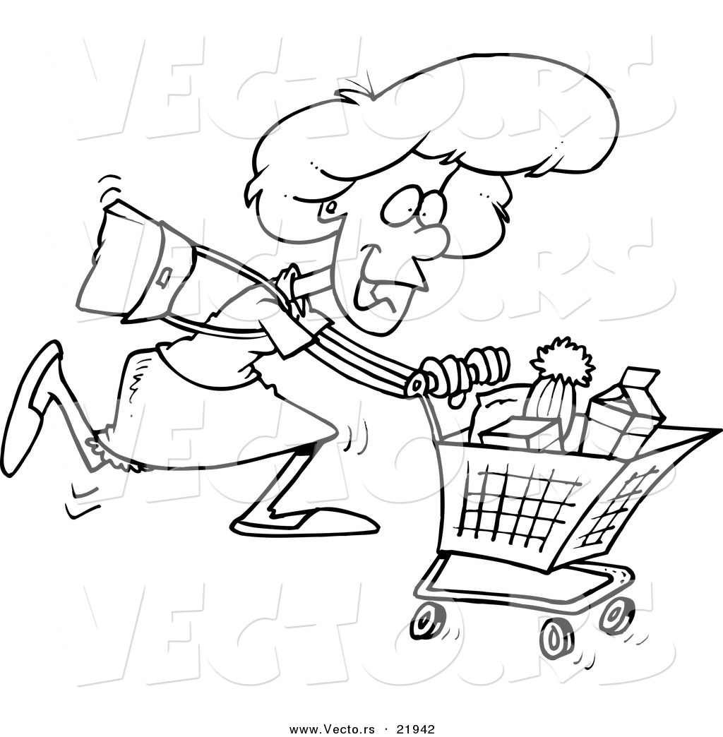 1024x1044 Vector Of A Cartoon Grocery Shopping Woman