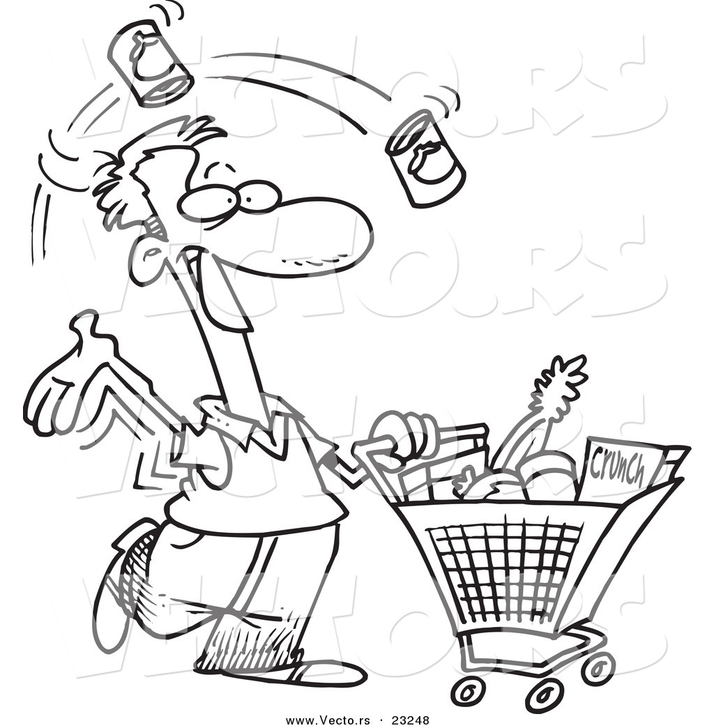 1024x1044 Vector Of A Cartoon Guy Grocery Shopping