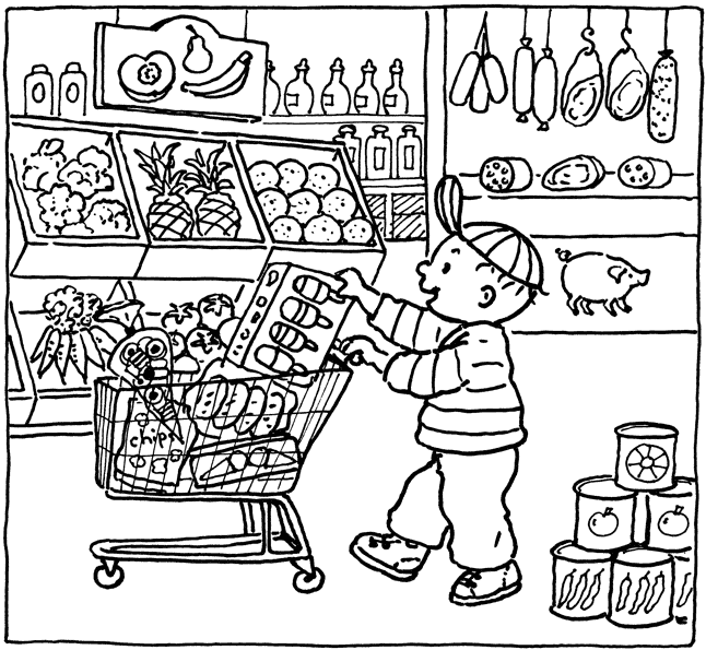 646x595 Grocery Shopping Coloring Pages