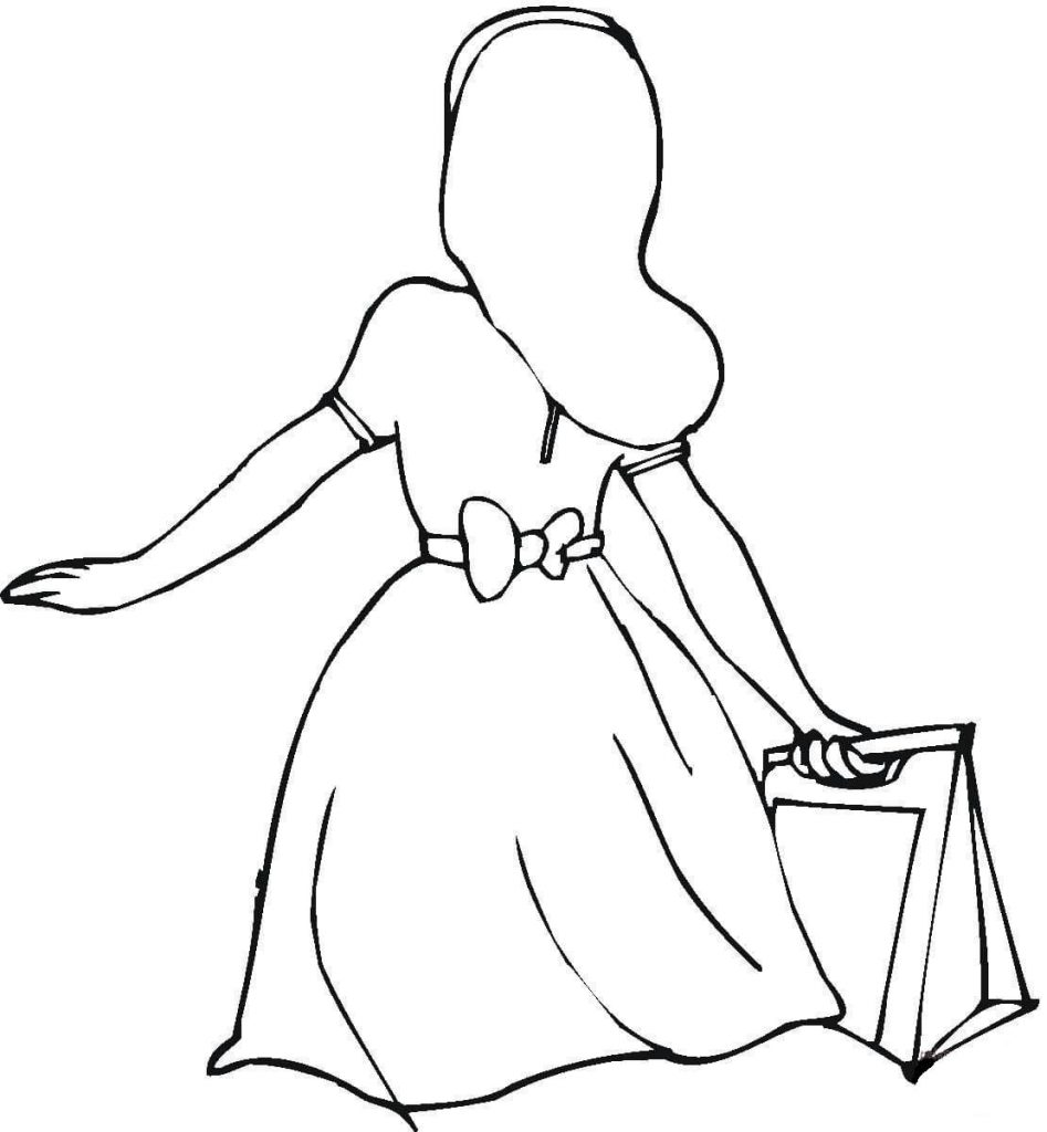 947x1024 She Bought A Nice Dress Shopping Coloring Page