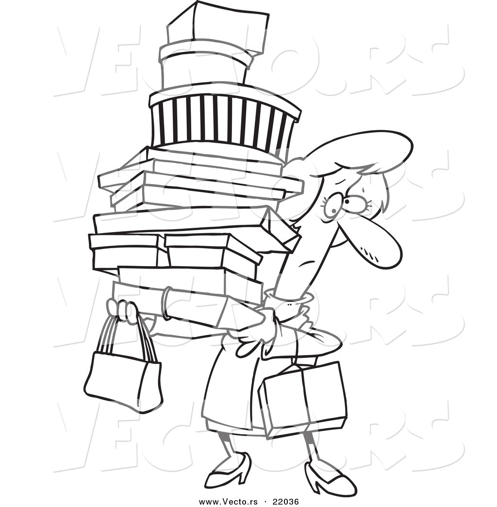 1024x1044 Vector Of A Cartoon Shopping Woman Carrying Packages