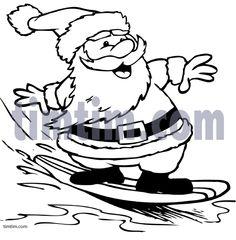 236x240 Santa In Shorts Coloring Page Outlined Santa In Shorts, Running