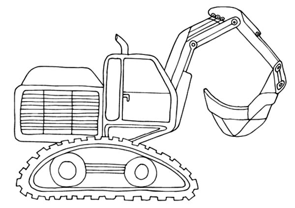 600x424 Excavator With Load Shovel Coloring Pages