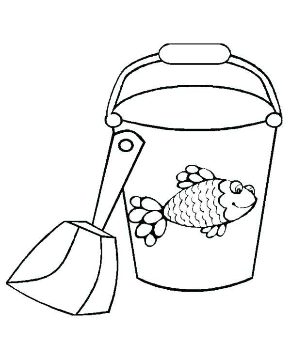 600x743 Sand Bucket And Shovel Coloring Page Bucket Fish Decorated Bucket