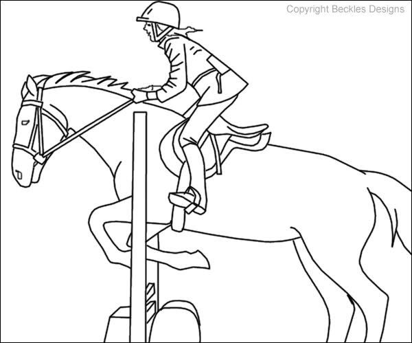 600x499 Horse Jumping Coloring Pages