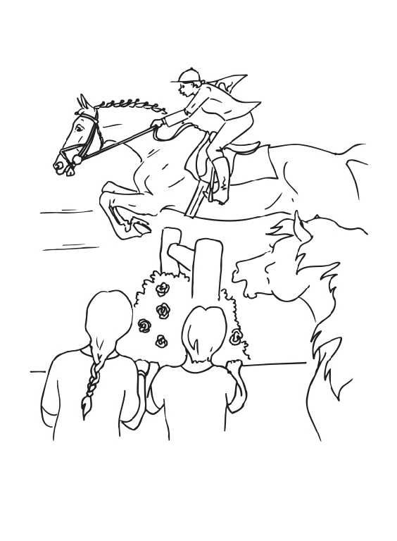 564x768 Horse Jumping Coloring Pages Color Horses Competition