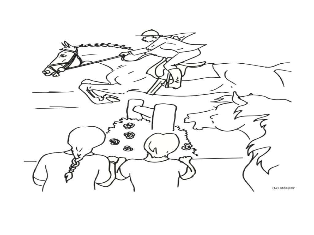 1024x768 Horse Jumping Coloring Sheets Show Pages