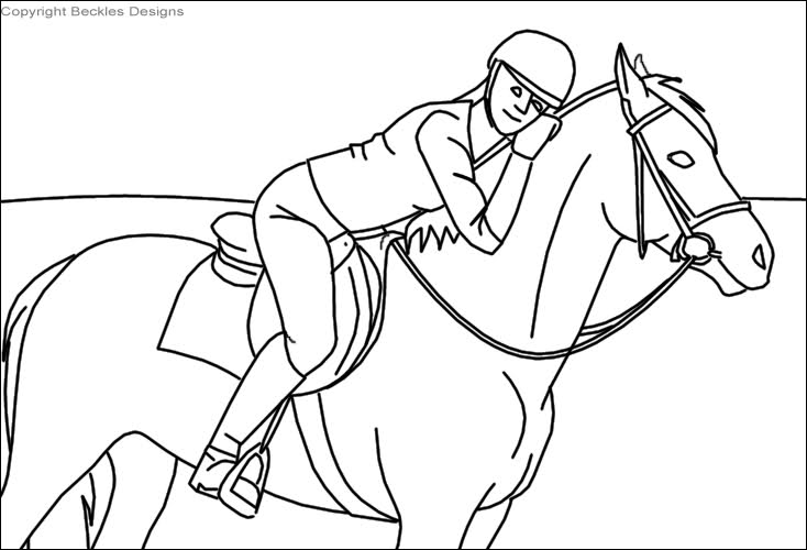 734x500 Coloring Pages Of Horses Jumping