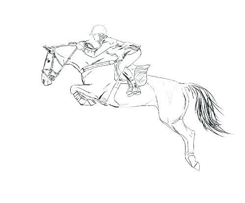 499x414 Girl Riding Horse Coloring Pages Jumping G Draw A Show Free