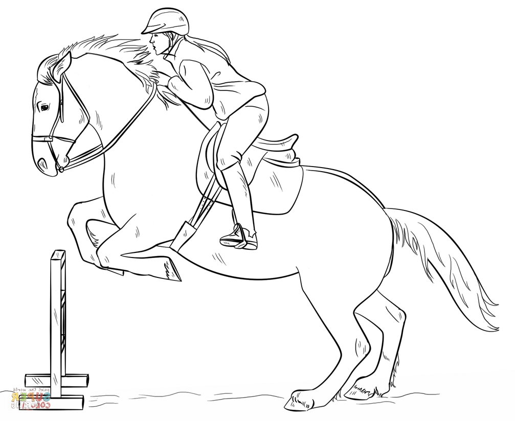 1007x824 Jumping Horse Coloring Pages