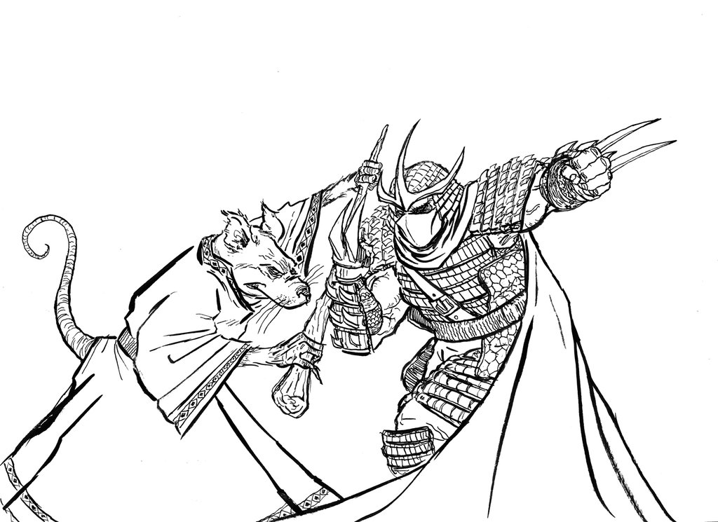 1024x745 Teenage Mutant Ninja Turtles Shredder Coloring Pages Splinter Vs
