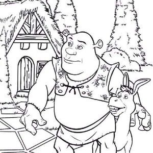 300x300 Shrek, Shrek And Donkey Coloring Page Shrek And Donkey Coloring