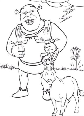 290x400 Movies Shrek And Donkey Coloring Page, Frozen Coloring Page
