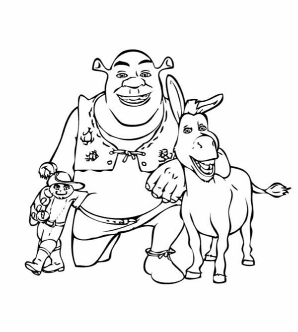 600x669 Puss In Boots Take Picture With Shrek And Donkey Coloring Pages