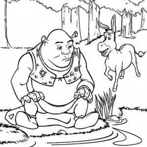 300x300 Shrek, Shrek Donkey At Side Of Lake Coloring Page Shrek