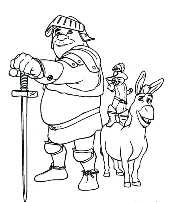 600x704 Shrek Coloring Book The Best Team Ever After Puss And Donkey