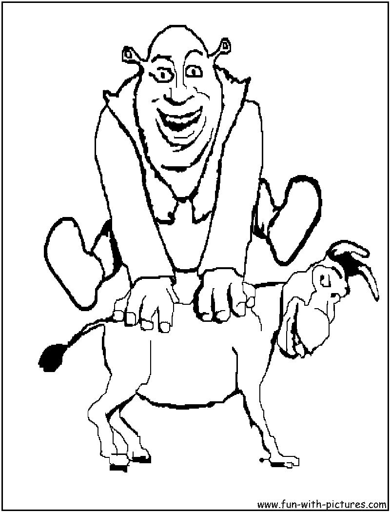 800x1050 Shrek Donkey Coloring Page