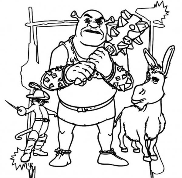 600x587 The Best Fighter Team Shrek With Donkey And Puss In Boots Coloring