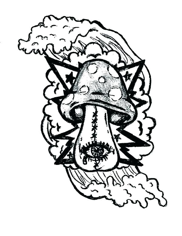 600x780 Trippy Mushroom Coloring Pages Magic Mushrooms Psychedelic
