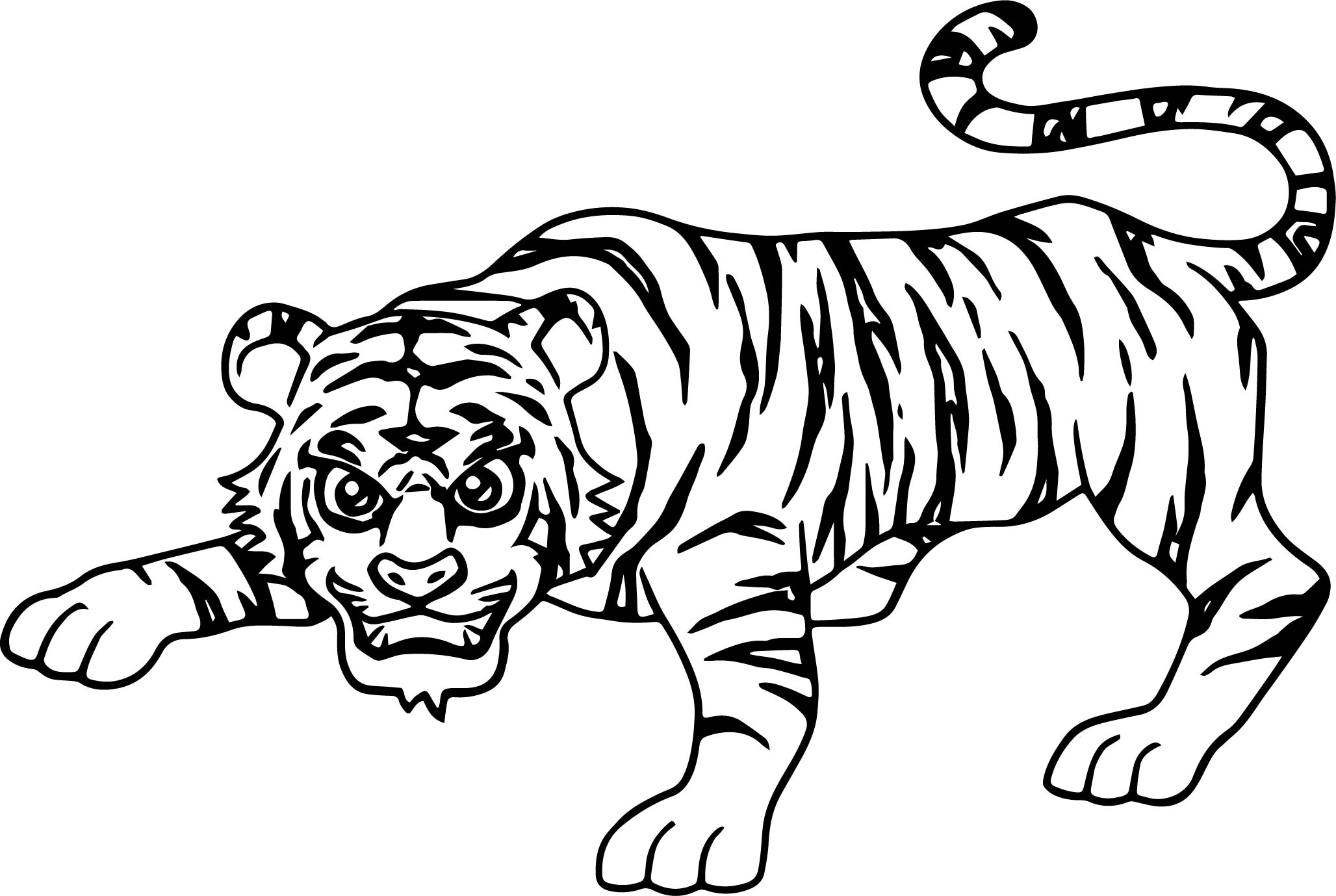 2056x1379 Smart Attack Tiger Coloring Page Wecoloringpage