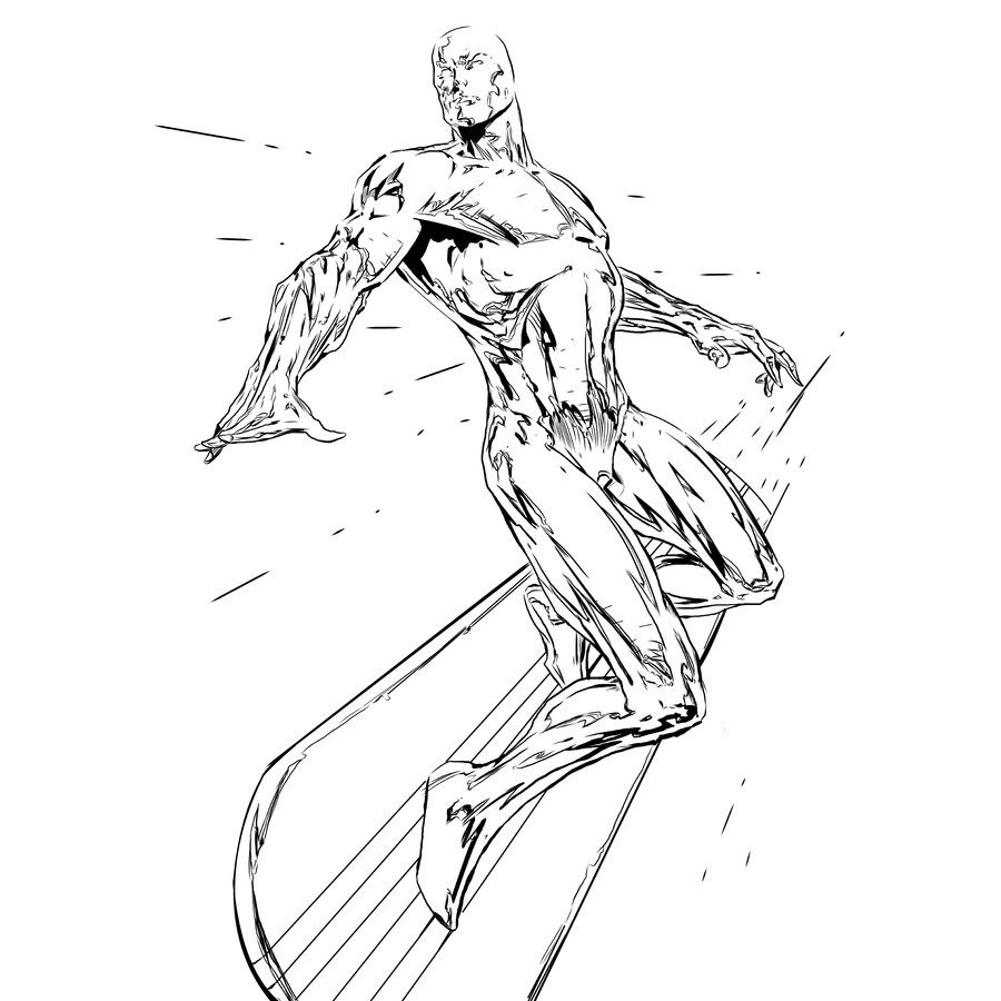 900x900 Coloring Pages Silver Surfer, Printable For Kids Adults, Free