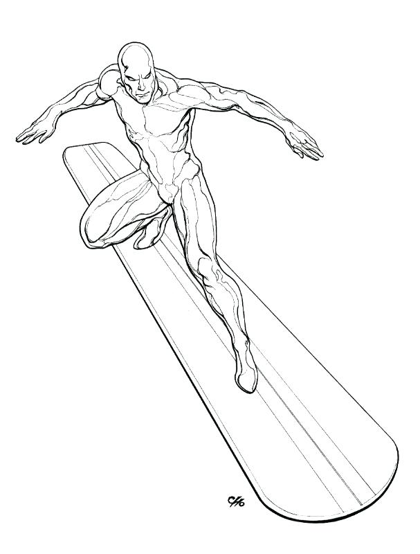 607x800 Silver Surfer Coloring Pages
