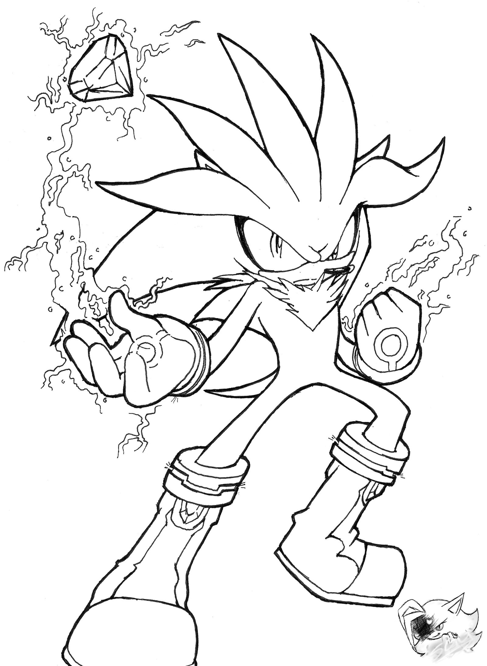 1600x2188 Powerful Silver The Hedgehog Coloring Pages Li