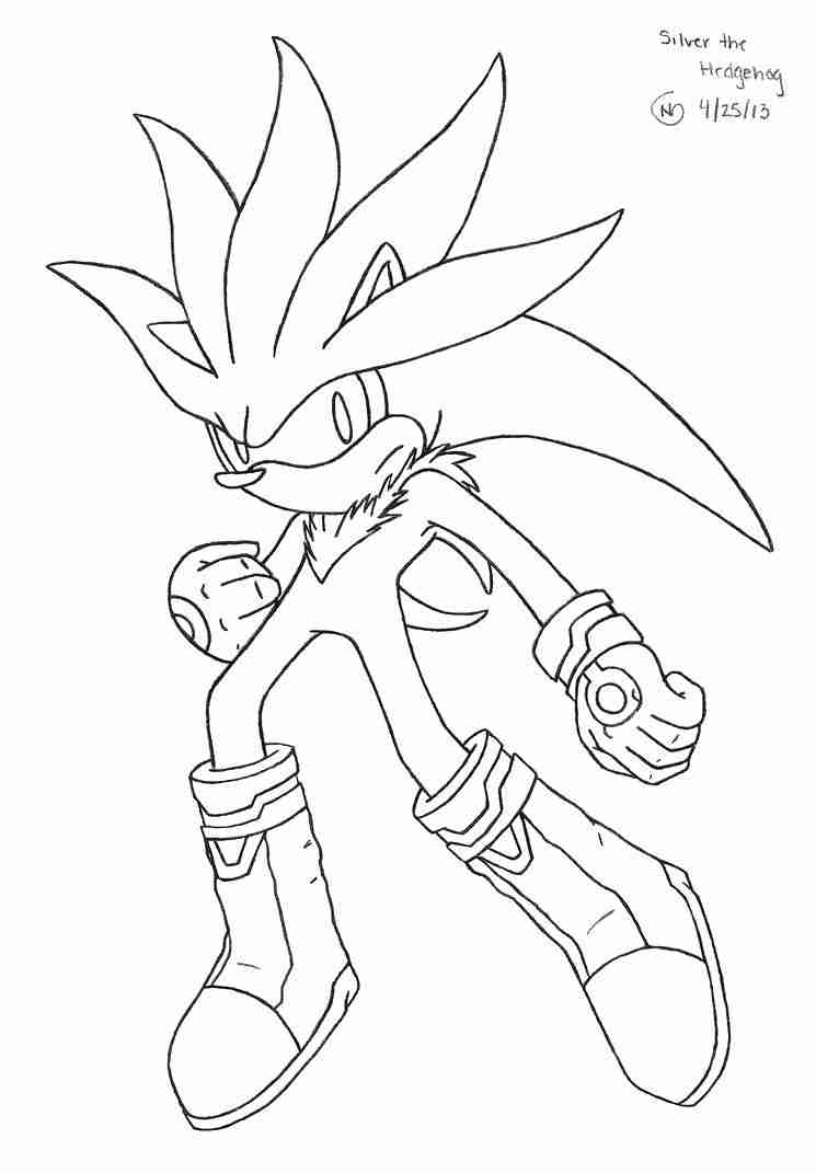 745x1071 Alert Famous Silver The Hedgehog Coloring Page