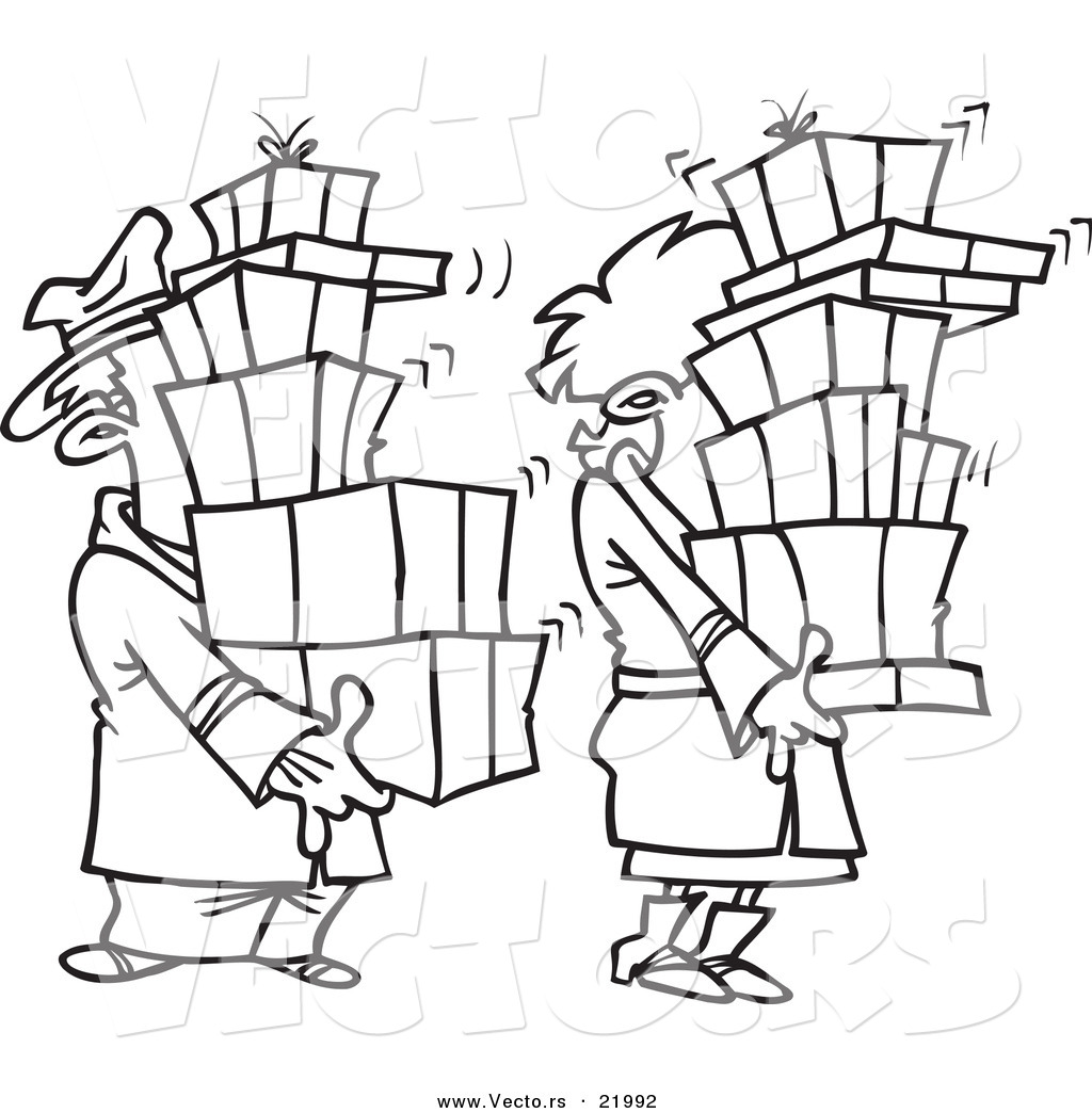 1024x1044 Vector Of A Cartoon Shaking Couple Carrying Packages
