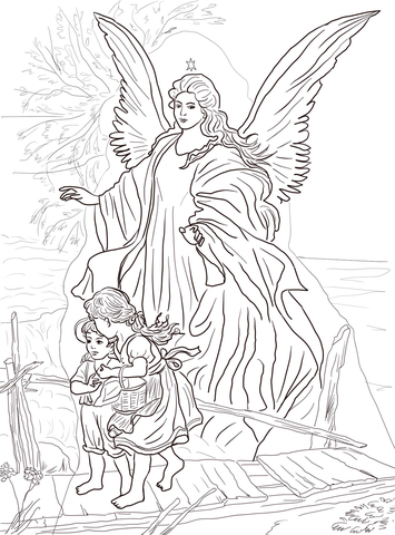 355x480 Guardian Angel Coloring Page With Two Childrens
