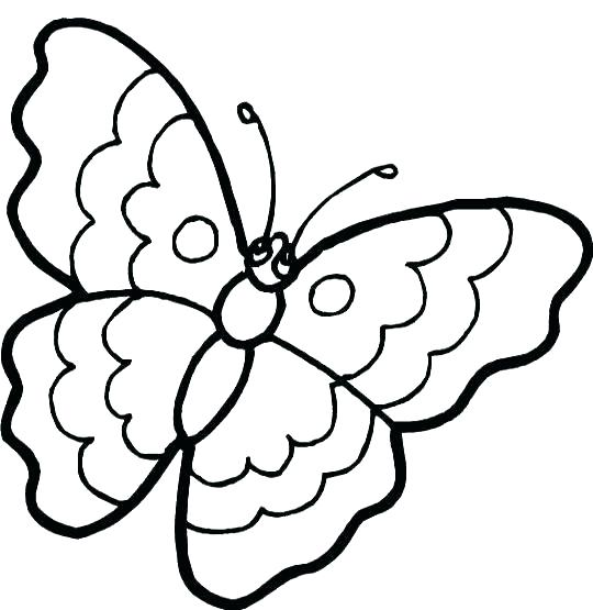 540x555 Simple Butterfly Coloring Pages