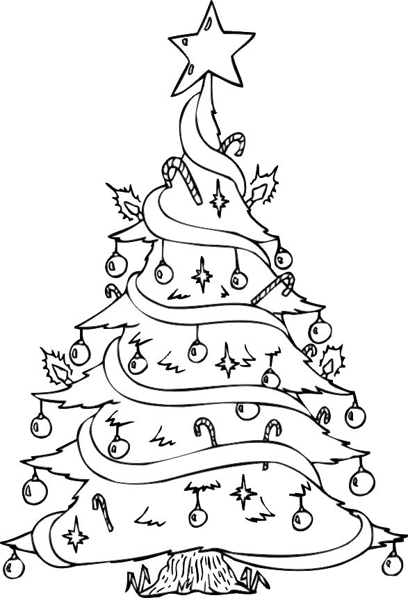 587x860 Christmas Tree Drawing For Coloring Best Christmas Tree
