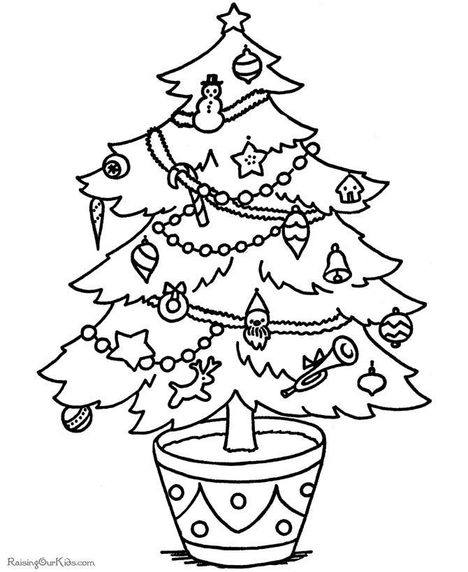 670x820 Christmas Tree Color Pages Free Christmas Tree Coloring Pages