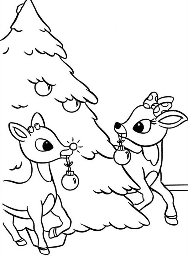 600x816 Rudolph And Clarice Decorated Christmas Tree Coloring Page Color