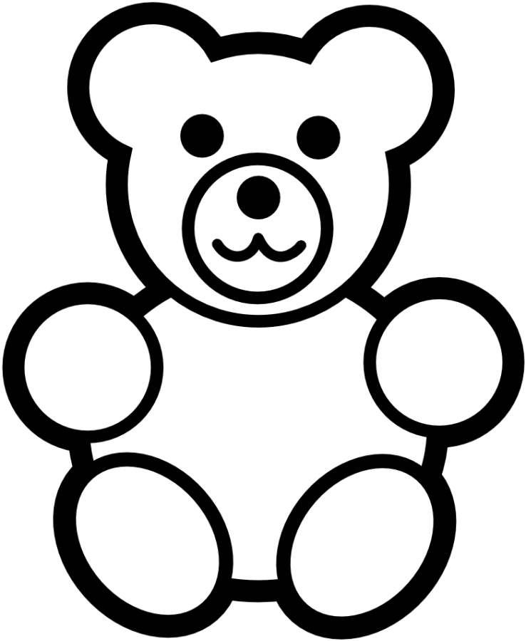 738x900 Teddy Bear Simple Black White Coloring Pages Online Printable