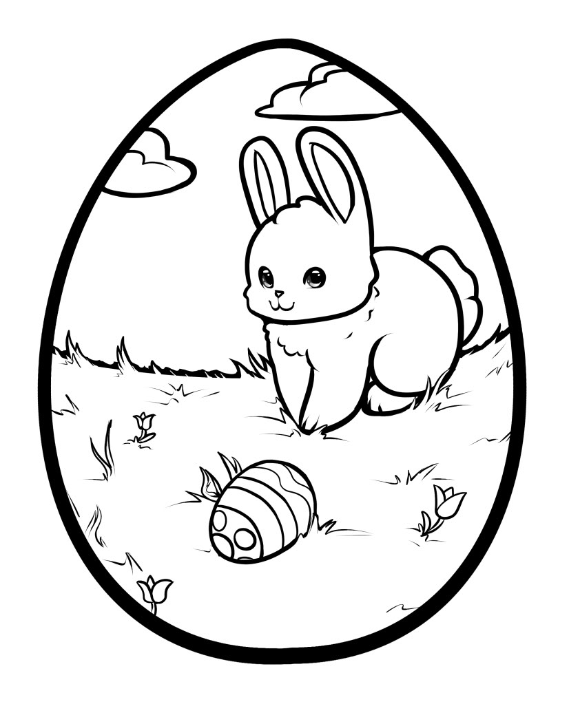 826x1023 Easter Bunny With Eggs Coloring Pages