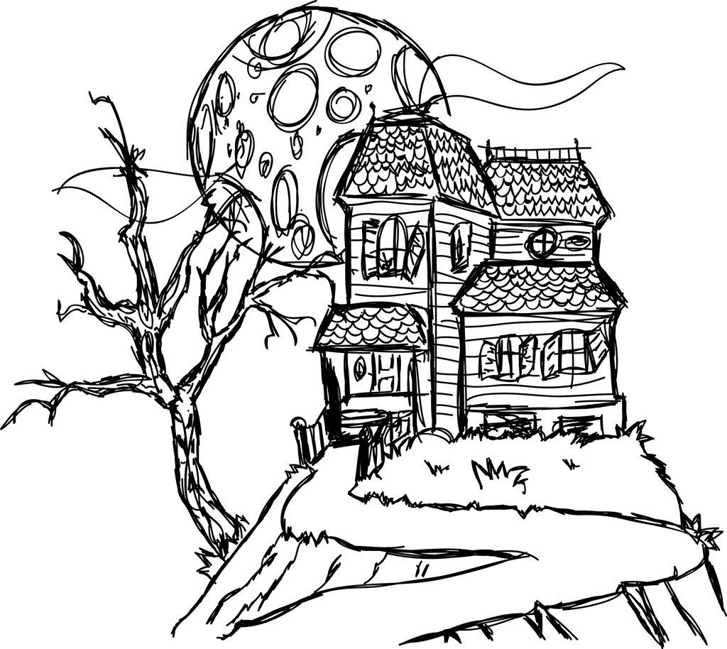 1024x914 Best Haunted House Coloring Pages Printable Bad Ghost Free