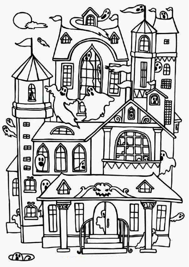 601x850 Halloween Coloring Pages Haunted House Free Printable Hous