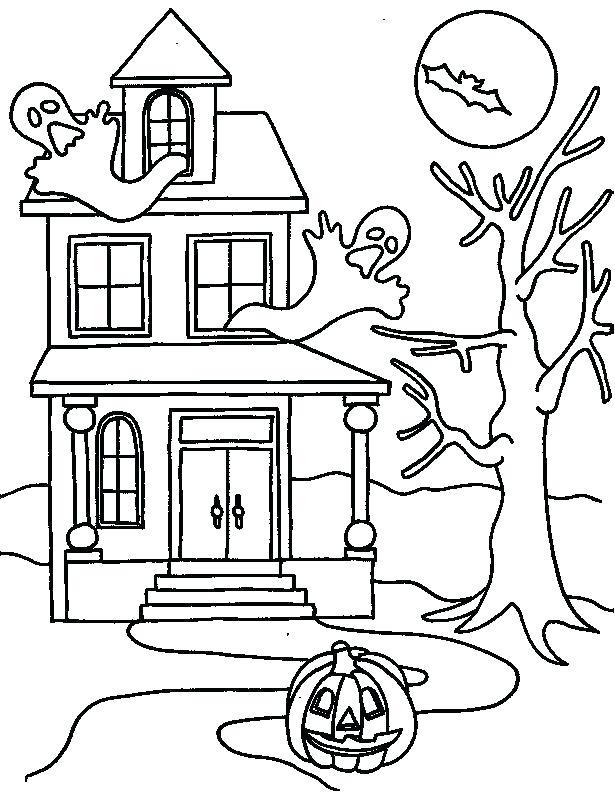 615x800 Haunted House Printable Coloring Pages Free Printable Haunted