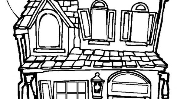 585x329 Innovative Haunted House Coloring Pages To Print Houses