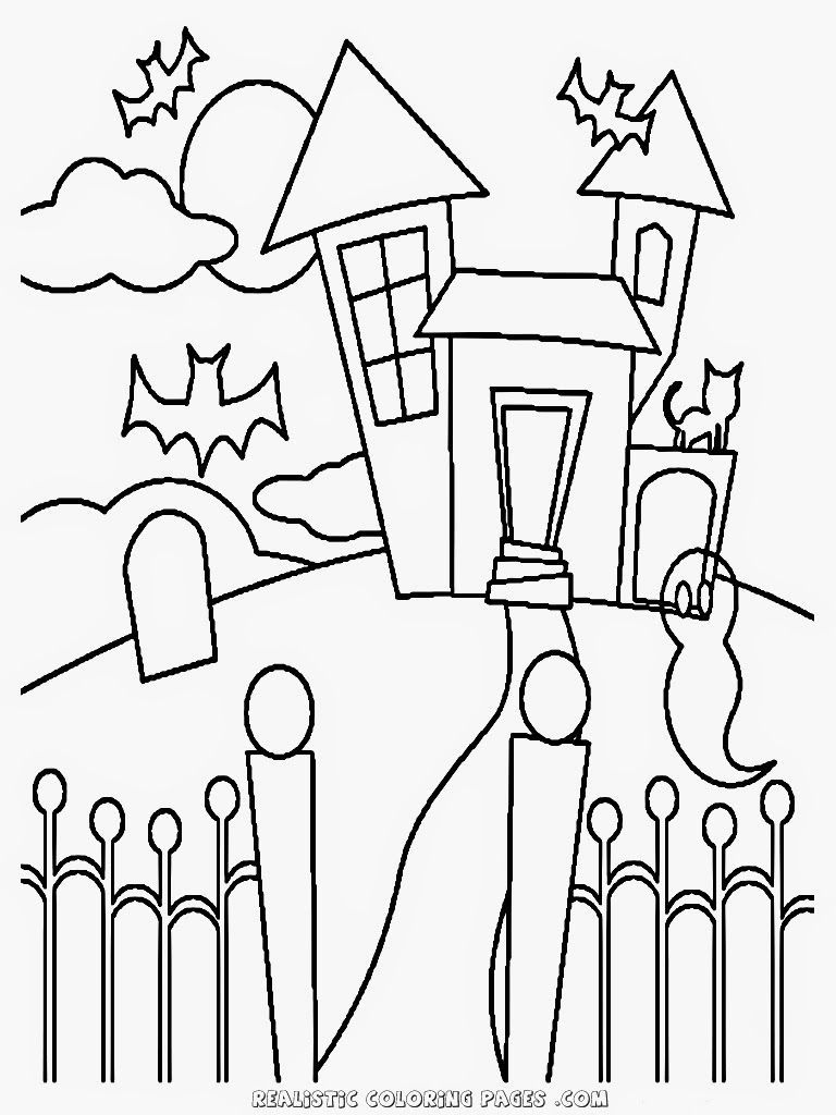 768x1024 Inspiring Easy Haunted House Coloring Pages Image Of Mansion Ideas
