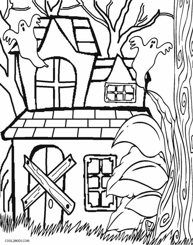 671x850 Simple Haunted House Coloring Page