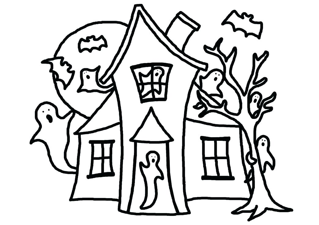 1043x738 Simple Haunted House Coloring Pages Deepart