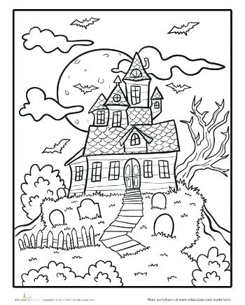 350x435 Free Printable Haunted House Coloring Pages For Kids Page Picture